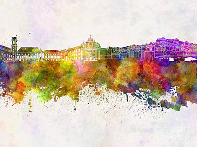 Portugal Art Painting - Coimbra Skyline In Watercolor Background by Pablo Romero