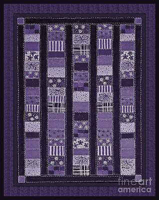 Coin Quilt -quilt Painting - Purple Patches Print by Barbara Griffin