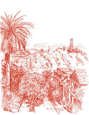 Old Town Drawing - Coit Tower View From Russian Hill San Francisco by Irina Sztukowski