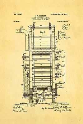 Brickie Photograph - Colburn Flat Glass Working Machine Patent Art 2 1902 by Ian Monk