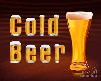 Booze Mixed Media - Cold Beer by Bedros Awak