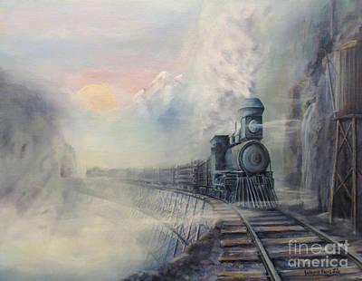 Logging Painting - Cold Blue Steel by Wayne Enslow