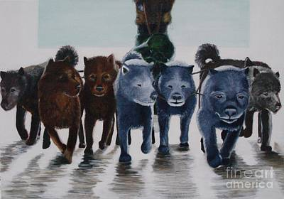 Arctic Dog Painting - Cold Climates No 1 by Lisbet Damgaard