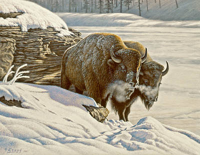 Yellowstone Park Painting - 'cold Day At Soda Butte' by Paul Krapf