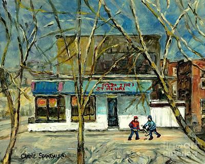 Cold Day St.henri Montreal Art Hockey Paintings Early Winter Rue Notre Dame Pizzeria Carole Spandau Print by Carole Spandau