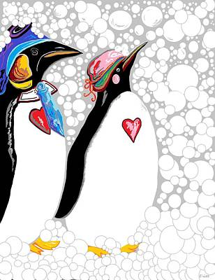 Penguin Mixed Media - Cold Feet Warm Hearts by Eloise Schneider