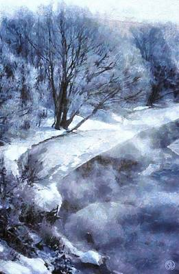 Trees Digital Art - Cold Morning by Gun Legler