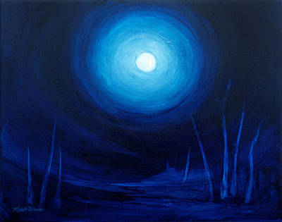 Abstract Night Sky Painting - Cold Orb by Michelle Wiarda