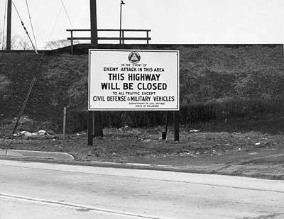 Cold War Photograph - Cold War Civil Defense Signage by Underwood Archives