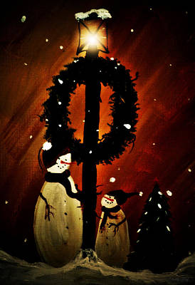 Wreath Painting - Cold Winters Night by Chastity Hoff