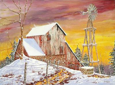 Snow Scene Painting - Texas Coldfront by Michael Dillon