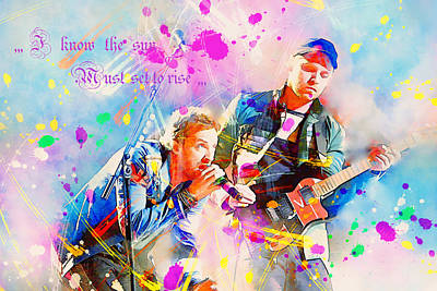 Coldplay Painting - Coldplay Lyrics by Rosalina Atanasova