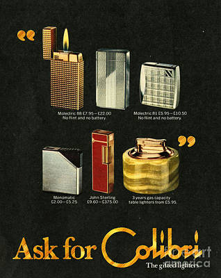 Cigarette Ads Drawing - Colibri  1970s Uk Lighters by The Advertising Archives