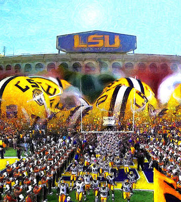 Collage Lsu Tigers Print by John Farr