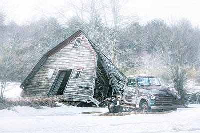 Truck Photograph - Collapsed Barn And Old Truck - Americana by Gary Heller