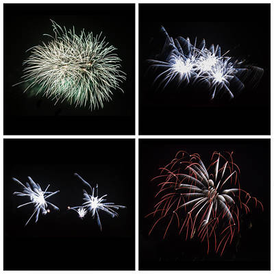 Collection Of Bright Colorful Firework Burst Explosions On Black Print by Matthew Gibson