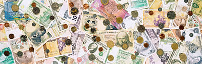 Large Group Of Objects Photograph - Collection Of Various Currencies by Panoramic Images