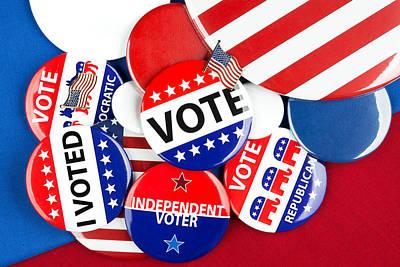 Collection Of Vote Badges Print by Joe Belanger
