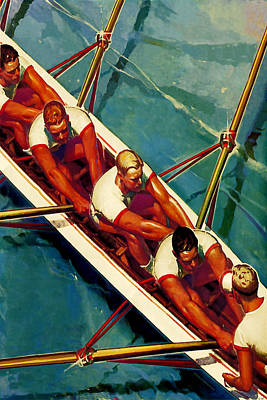 Scull Painting - Crew Race - At The Beach America by Private Collection