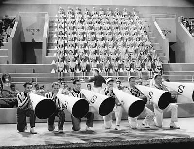 Cheerleaders Photograph - college Rhythm Cheerleaders by Underwood Archives