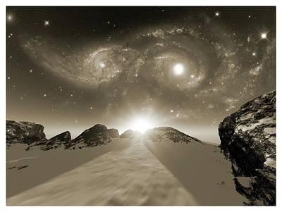 Merging Photograph - Colliding Galaxies by Detlev Van Ravenswaay