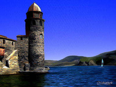 Collioure Bell Tower Print by Chris Knights
