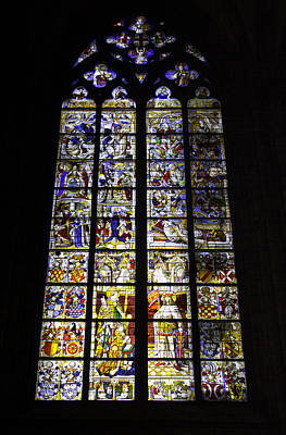 Relief Art Photograph - Cologne Cathedral Stained Glass Window Of St Peter And Tree Of Jesse by Teresa Mucha