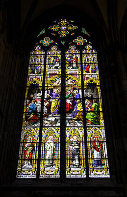 Relief Art Photograph - Cologne Cathedral Stained Glass Window Of St Peter by Teresa Mucha