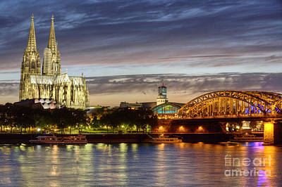 Cologne Cathedral With Rhine Riverside Print by Heiko Koehrer-Wagner