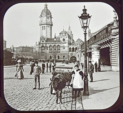 Print featuring the photograph Cologne Germany Street Scene 1903 Vintage Photograph by A Gurmankin