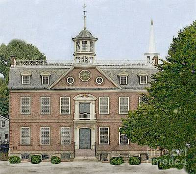 Berry Drawing - Colonial Court House Newport Rhode Island by Diane E Berry