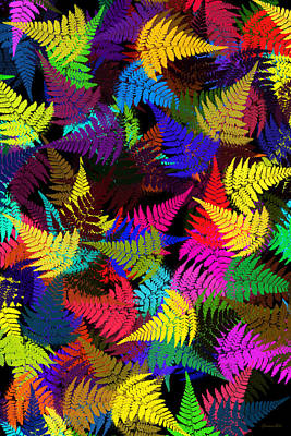 Rollo Digital Art - Color Abstract Fern Leaf Pattern Art by Christina Rollo