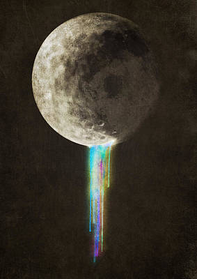 Moon Drawing - Color Bleed by Eric Fan