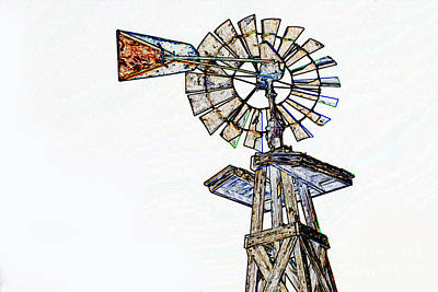 Color Drawing Of Old Windmill 3009.04 Print by M K  Miller