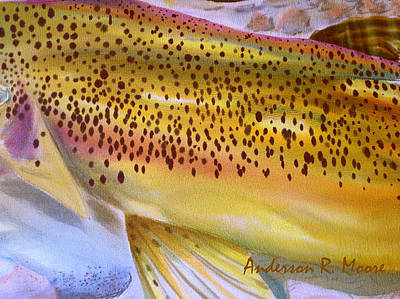 Rainbow Trout Mixed Media - Color Me Trout- Brown by Anderson R Moore
