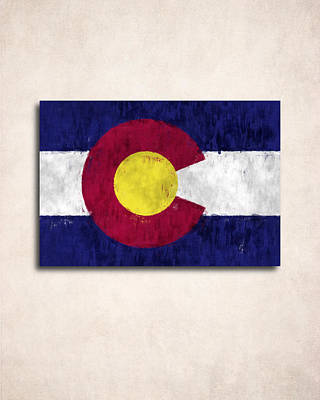 Tourism Digital Art - Colorado Map Art With Flag Design by World Art Prints And Designs