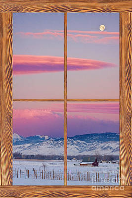 Picture Window Frame Photos Art Photograph - Colorado Moon Sunrise Barn Wood Picture Window View by James BO  Insogna