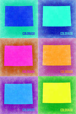 Colorado Painting - Colorado Pop Art Map 3 by Naxart Studio