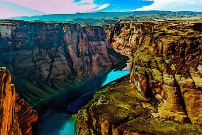 Grand Canyon Mixed Media - Colorado River Grand Canyon by Bob and Nadine Johnston