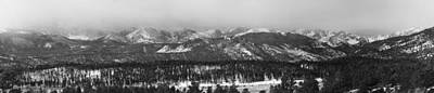 Snow Photograph - Colorado Rocky Mountain National Park Panorama Winter View Bw by James BO  Insogna