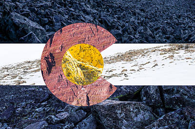 Colorado State Flag With Mountain Textures Print by Aaron Spong