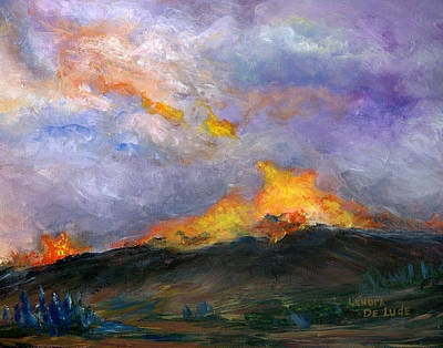 Wildfire Painting - Colorado Wild Fire by Lenora  De Lude