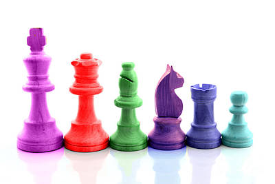 Board Game Photograph - Colored Chess Pieces by Peter Hatter