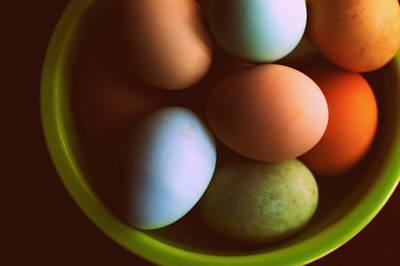 Fiestaware Photograph - Colored Eggs by Megan Luschen