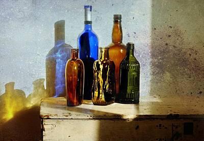 Reflections On Bottle Photograph - Colored Glass by Diana Angstadt