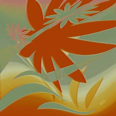 Colored Jungle Orange Splash Print by Ben and Raisa Gertsberg