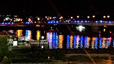 Colored Lights Reflect On Potomac Print by Kenny Glover