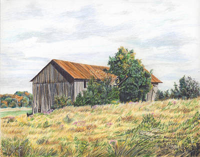 Colored Pencil Barn Print by Marshall Bannister
