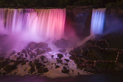 Violet Photograph - Colorful American Falls by Adam Romanowicz