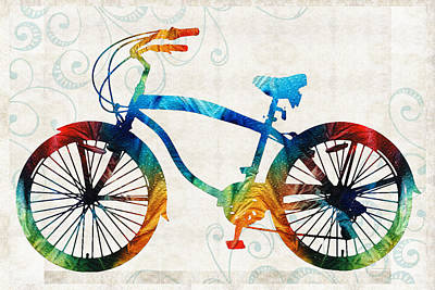 Cycle Painting - Colorful Bike Art - Free Spirit - By Sharon Cummings by Sharon Cummings